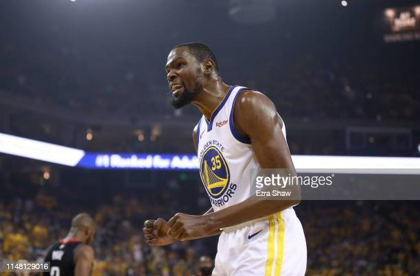 Kevin Durant of the Golden State Warriors reacts during their game against the Houston Rockets in Game Five of the Western Conference Semifinals of...