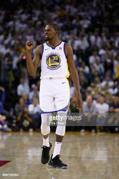 Kevin Durant of the Golden State Warriors reacts during their game against the Houston Rockets at ORACLE Arena on October 17 2017 in Oakland...