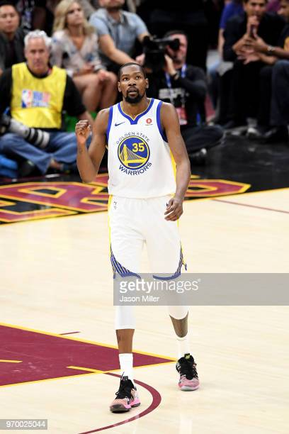Kevin Durant of the Golden State Warriors reacts in the first half against the Cleveland Cavaliers during Game Four of the 2018 NBA Finals at Quicken...