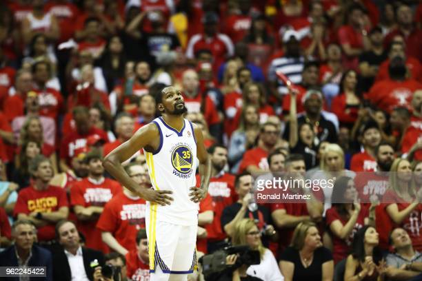 Kevin Durant of the Golden State Warriors reacts late in the fourth quarter of Game Five of the Western Conference Finals of the 2018 NBA Playoffs...