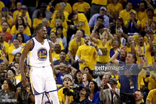 Kevin Durant of the Golden State Warriors reacts to a play against the Cleveland Cavaliers in Game 1 of the 2017 NBA Finals at ORACLE Arena on June 1...
