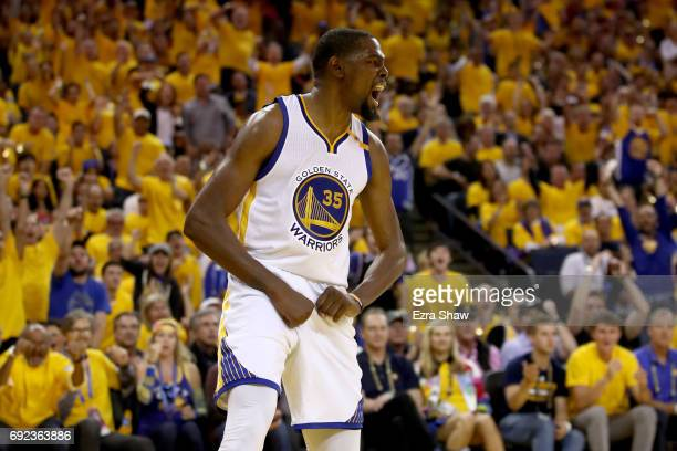 Kevin Durant of the Golden State Warriors reacts to a play against the Cleveland Cavaliers in Game 2 of the 2017 NBA Finals at ORACLE Arena on June 4...