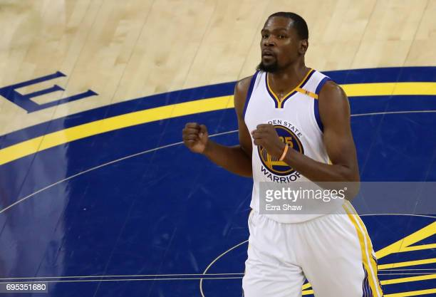 Kevin Durant of the Golden State Warriors reacts to a play against the Cleveland Cavaliers in Game 5 of the 2017 NBA Finals at ORACLE Arena on June...