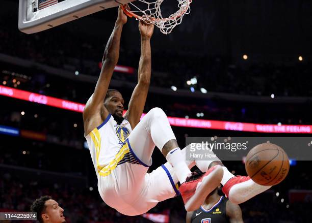 Kevin Durant of the Golden State Warriors reacts to his dunk during a 113105 win over the LA Clippers in Game Four of Round One of the 2019 NBA...