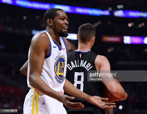 Kevin Durant of the Golden State Warriors reacts to his foul on Danilo Gallinari of the LA Clippers during the first half in Game Four of Round One...