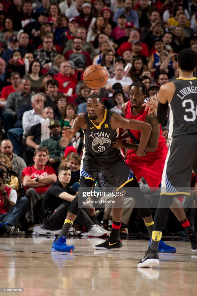Kevin Durant #35 of the Golden State Warriors retrieves the ball against the Portland Trail Blazers on February 14, 2018 at the Moda Center Arena in Portland, Oregon.