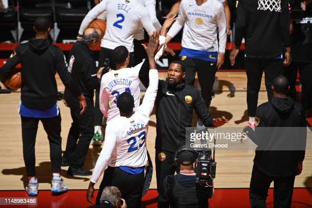 Kevin Durant of the Golden State Warriors runs out before Game Five of the NBA Finals against the Toronto Raptors on June 10, 2019 at Scotiabank...