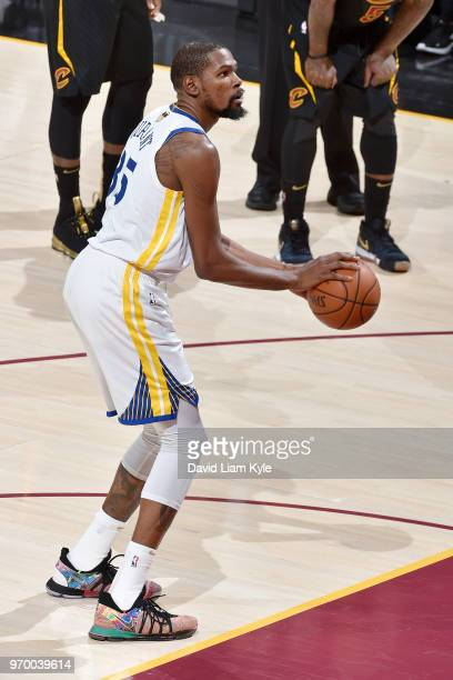 OH Kevin Durant of the Golden State Warriors shoots a free throw during the game against the Cleveland Cavaliers in Game Four of the 2018 NBA Finals...