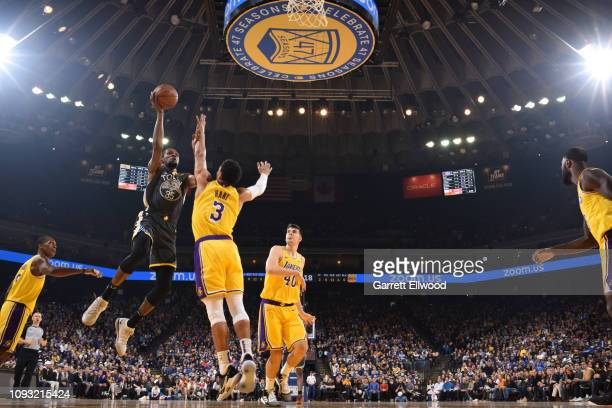 Kevin Durant of the Golden State Warriors shoots mid range jumper against the Los Angeles Lakers on February 2 2019 at the Pepsi Center in Denver...
