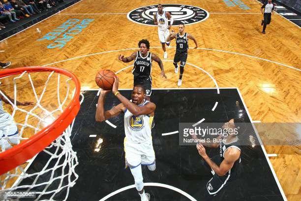 Kevin Durant of the Golden State Warriors shoots the ball against the Brooklyn Nets on October 28 2018 at Barclays Center in Brooklyn New York NOTE...