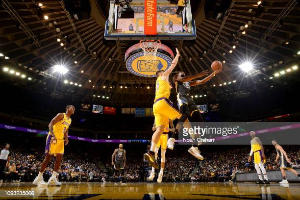 Kevin Durant of the Golden State Warriors shoots the ball against the Los Angeles Lakers on February 2 2019 at ORACLE Arena in Oakland California...