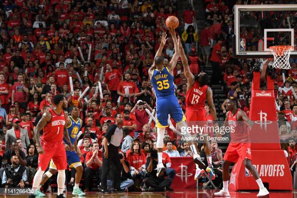Kevin Durant of the Golden State Warriors shoots the ball against the Houston Rockets during Game Three of the Western Conference Semifinals of the...
