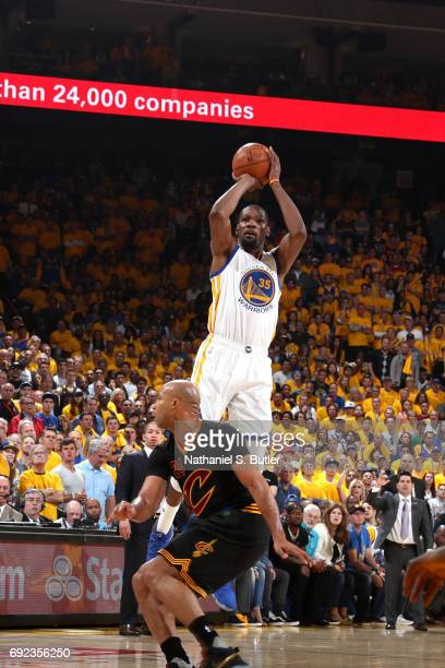 Kevin Durant of the Golden State Warriors shoots the ball against the Cleveland Cavaliers in Game Two of the 2017 NBA Finals on June 4 2017 at ORACLE...