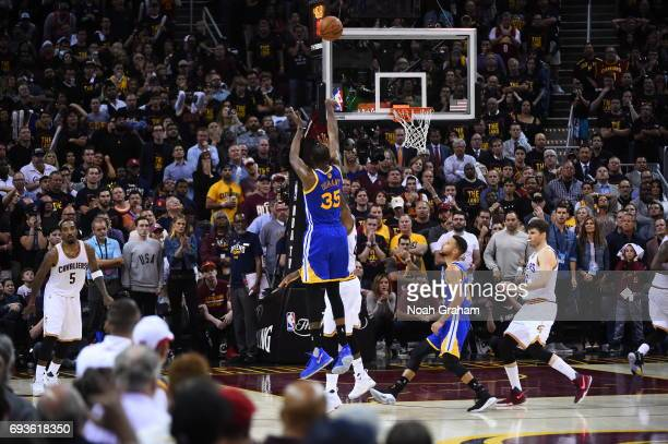 Kevin Durant of the Golden State Warriors shoots the ball against the Cleveland Cavaliers in Game Three of the 2017 NBA Finals on June 7 2017 at...