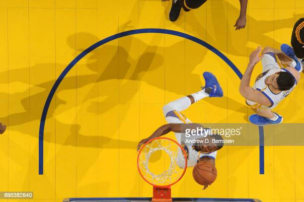 Kevin Durant of the Golden State Warriors shoots the ball against the Cleveland Cavaliers in Game Five of the 2017 NBA Finals on June 12 2017 at...