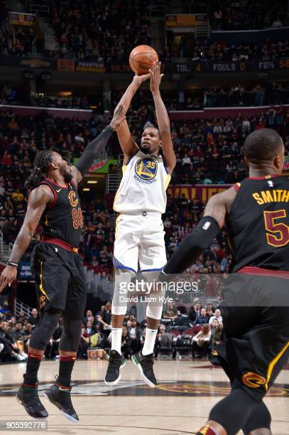 Kevin Durant of the Golden State Warriors shoots the ball against the Cleveland Cavaliers on January 15 2018 at Quicken Loans Arena in Cleveland Ohio...