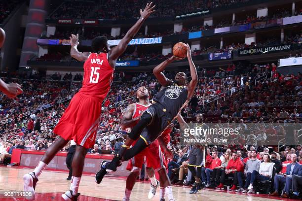 Kevin Durant of the Golden State Warriors shoots the ball against the Houston Rockets on January 20 2018 at the Toyota Center in Houston Texas NOTE...
