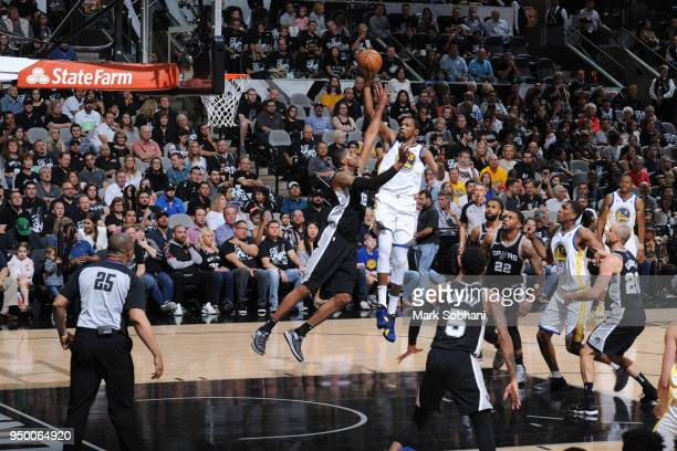 Kevin Durant of the Golden State Warriors shoots the ball against the San Antonio Spurs in Game Four of the Western Conference Quarterfinals during...