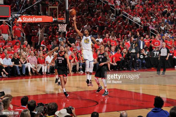 Kevin Durant of the Golden State Warriors shoots the ball against the Houston Rockets in Game Seven of the Western Conference Finals during the 2018...