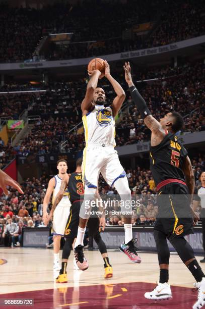 Kevin Durant of the Golden State Warriors shoots the ball against the Cleveland Cavaliers during Game Three of the 2018 NBA Finals on June 6 2018 at...