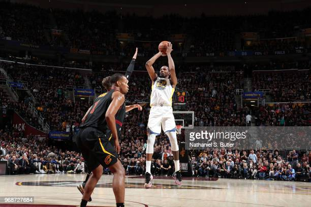 Kevin Durant of the Golden State Warriors shoots the ball against the Cleveland Cavaliers in Game Three of the 2018 NBA Finals on June 6 2018 at...