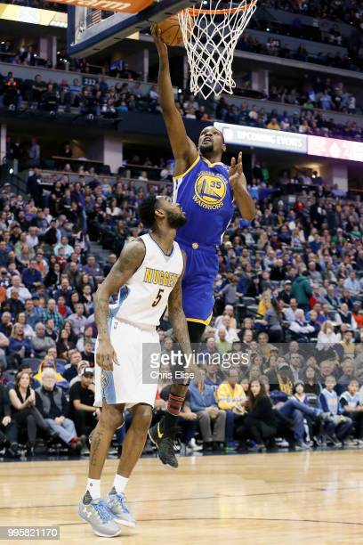 Kevin Durant of the Golden State Warriors shoots the ball against the Denver Nuggets on February 13 2017 at the Pepsi Center in Denver Colorado NOTE...