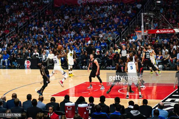 Kevin Durant of the Golden State Warriors shoots the ball during a game against the Los Angeles Clippers at Staples Center on April 26 2019 in Los...