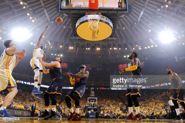 Kevin Durant of the Golden State Warriors shoots the ball during the game against the Cleveland Cavaliers during Game One of the 2017 NBA Finals at...