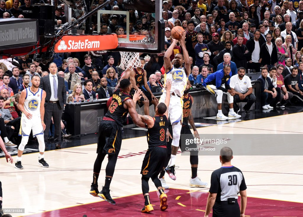 Kevin Durant #35 of the Golden State Warriors shoots the ball over the Cleveland Cavaliers defense during Game Three of the 2018 NBA Finals on June 6, 2018 at Quicken Loans Arena in Cleveland, Ohio.