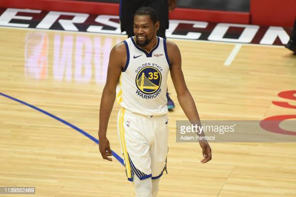 Kevin Durant of the Golden State Warriors smiles against the LA Clippers during Game Six of Round One of the 2019 NBA Playoffs on April 26 2019 at...