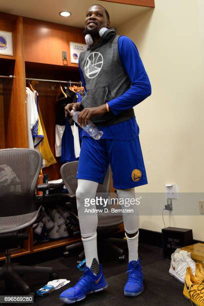 Kevin Durant of the Golden State Warriors smiles in the locker room before Game One of the 2017 NBA Finals against the Cleveland Cavaliers on June 1...