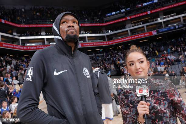 Kevin Durant of the Golden State Warriors speaks Cassidy Hubbarth after defeating the Sacramento Kings on February 2 2018 at Golden 1 Center in...