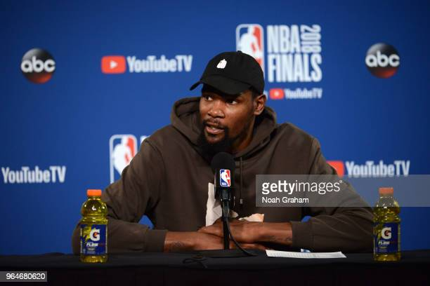 Kevin Durant of the Golden State Warriors talks to the media after the game against the Cleveland Cavaliers in Game One of the 2018 NBA Finals on May...