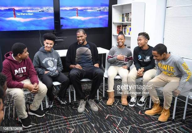 Kevin Durant of the Golden State Warriors visits The Durant Center, a brand-new state-of-the-art educational and leadership facility powered by...