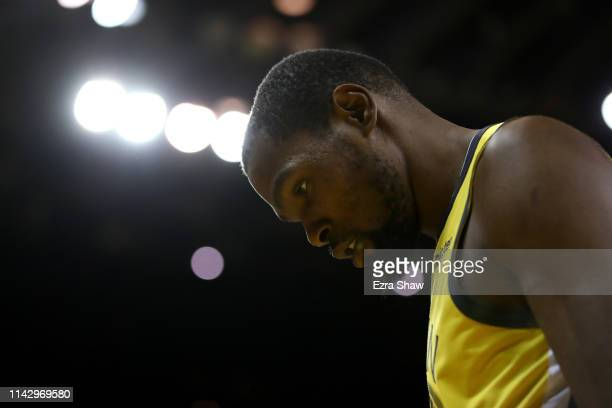 Kevin Durant of the Golden State Warriors walks back to the bench during a timeout of their game against the LA Clippers during Game Two of the first...