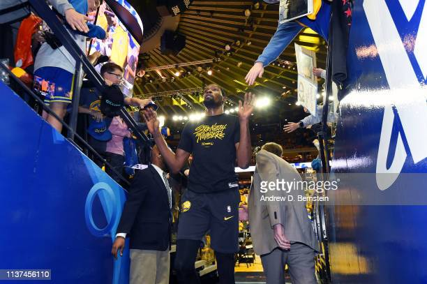 Kevin Durant of the Golden State Warriors walks off the court before Game Two of Round One against the LA Clippers during the 2019 NBA Playoffs on...