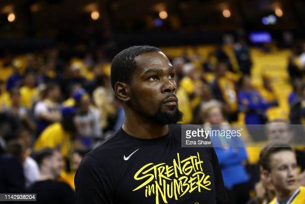 Kevin Durant of the Golden State Warriors walks out of the tunnel to warm up before their game against the LA Clippers in Game Two of the first round...