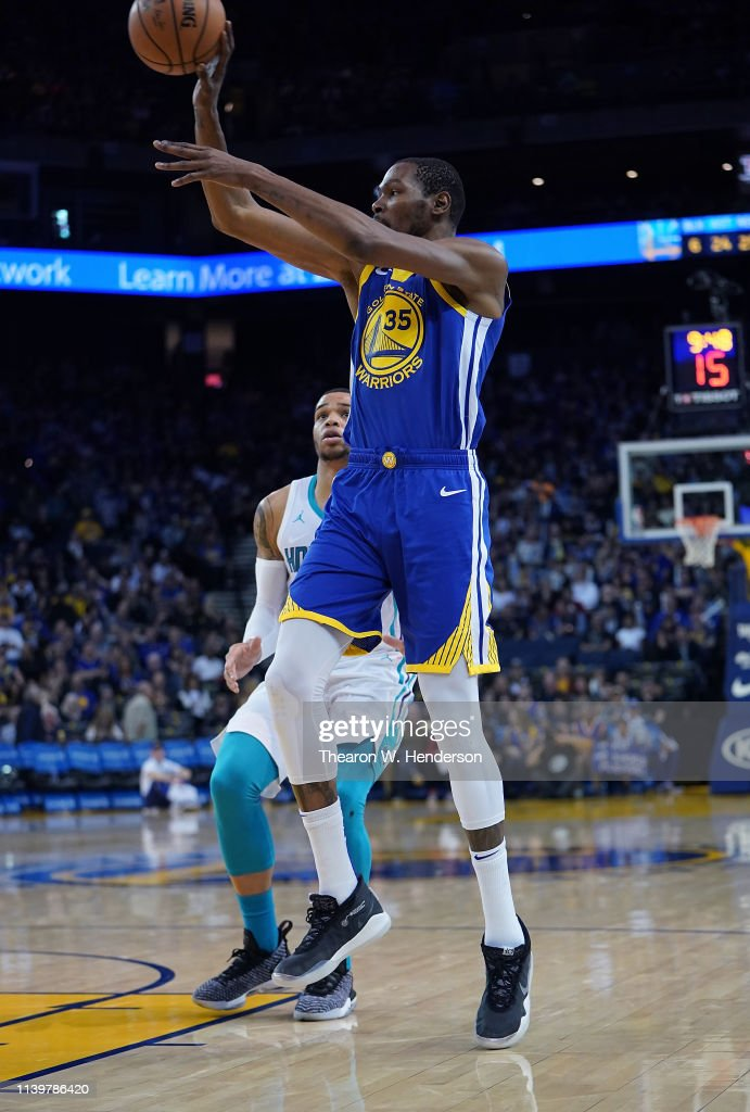 pretty nice 55da6 817db Kevin Durant of the Golden State Warriors wearing his new ...
