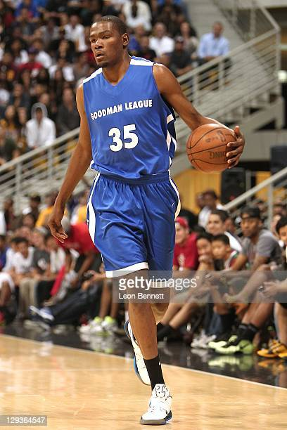 Kevin Durant of the Goodman League during the rematch game against the Drew League at Cal State Long Beach on October 9 2011 in Long Beach California