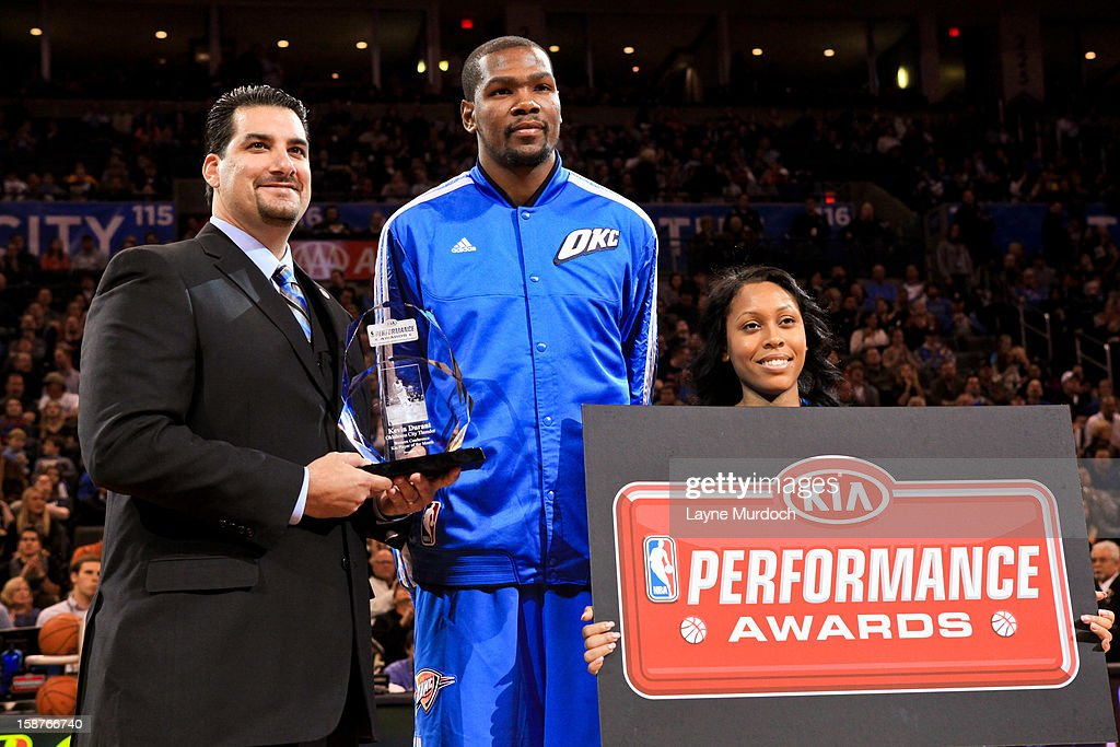 Kevin Durant #35 of the Oklahoma City Thunder accepts the Kia Performance Award for Western Conference Player of the Month before a game against the Dallas Mavericks on December 27, 2012 at the Chesapeake Energy Arena in Oklahoma City, Oklahoma.