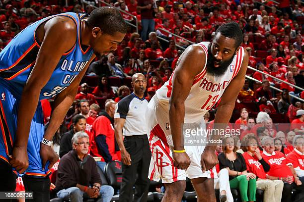 8e73163659fe Kevin Durant of the Oklahoma City Thunder and James Harden of the Houston  Rockets wait to