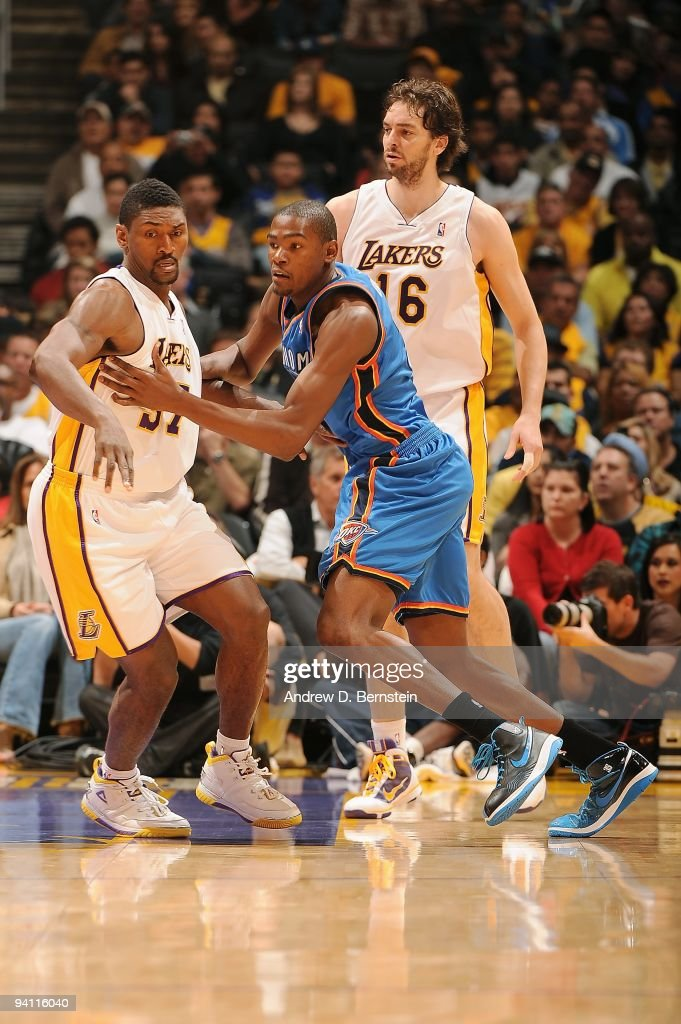 2cff588b48e8 Kevin Durant of the Oklahoma City Thunder and Ron Artest of the Los ...