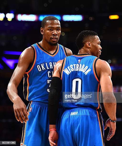Kevin Durant of the Oklahoma City Thunder and Russell Westbrook of the Oklahoma City Thunder react to a Los Angeles Lakers foul during the first half...