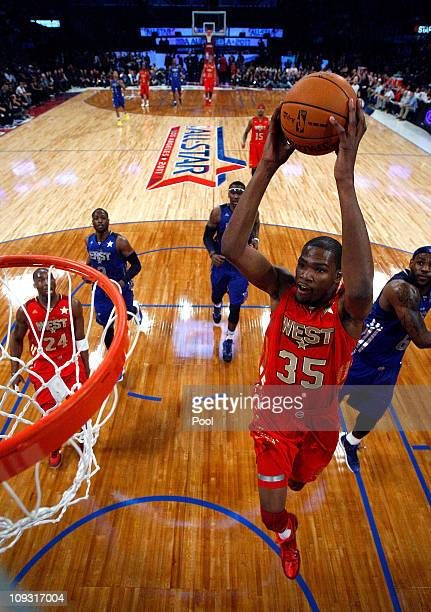 Kevin Durant of the Oklahoma City Thunder and the Western Conference goes up for a dunk in the 2011 NBA AllStar Game at Staples Center on February 20...
