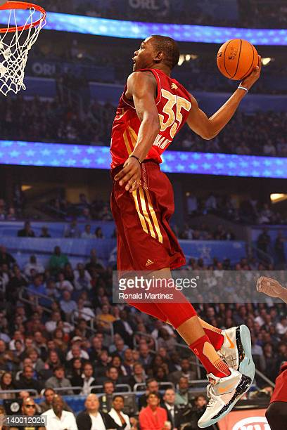 Kevin Durant of the Oklahoma City Thunder and the Western Conference dunks during the 2012 NBA All-Star Game at the Amway Center on February 26, 2012...