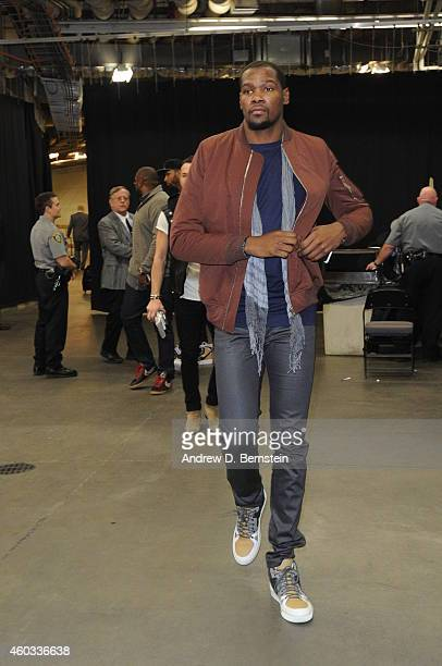Kevin Durant of the Oklahoma City Thunder arrives before the game against the Cleveland Cavaliers on December 11 2014 in Oklahoma City Oklahoma NOTE...