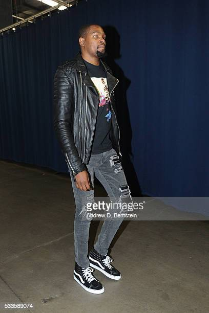 Kevin Durant of the Oklahoma City Thunder arrives prior to Game Three of the Western Conference Finals between the Golden State Warriors and Oklahoma...