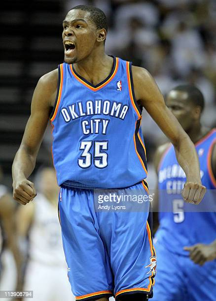 Kevin Durant of the Oklahoma City Thunder celebrates during the game against the Memphis Grizzlies in Game Four of the Western Conference Semifinals...