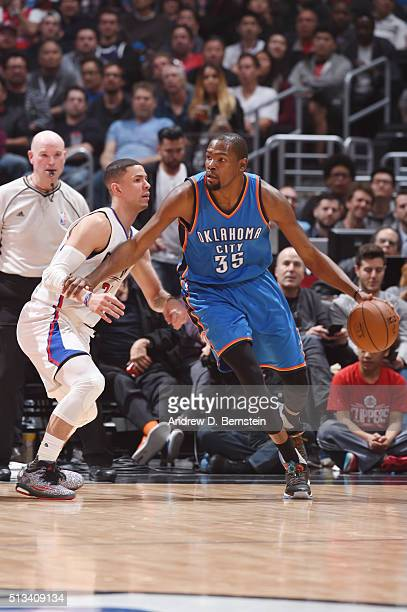 Kevin Durant of the Oklahoma City Thunder defends the ball against the Los Angeles Clippers during the game on March 2 2016 at STAPLES Center in Los...