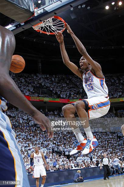 Kevin Durant of the Oklahoma City Thunder dunks against the Memphis Grizzlies in Game Five of the Western Conference Semifinals During the 2011 NBA...